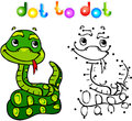Funny cartoon snake dot to dot vector illustration for child Royalty Free Stock Images