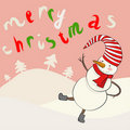 Funny cartoon snowman in  Stock Image