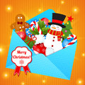 Funny cartoon snowman on christmas background with Stock Images