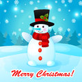 Funny cartoon snowman on christmas background with Stock Photo