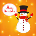 Funny cartoon snowman on christmas background with Stock Image