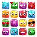 Funny cartoon square jelly characters Royalty Free Stock Photo