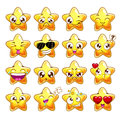 Funny cartoon star character emotions set