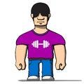 Funny cartoon strongman. Vector illustration Royalty Free Stock Photo