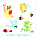 Funny cartoon style doodle insects vector set Royalty Free Stock Photo
