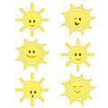 Funny cartoon sun set Stock Images