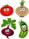 Funny cartoon  tomato, beet, cucumber, onion Stock Photo