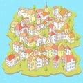Funny Cartoon Town on the Small Island Royalty Free Stock Photo