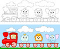 Funny cartoon train with lion, elephant and rhino. Coloring book Royalty Free Stock Photo