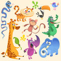 Funny cartoon vector illustrations of crocodile, giraffe, monkey chimpanzee, toucan, rhino, elephant, bluebird, snake, tiger