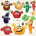 Funny cartoon vegetables clip art various Stock Photo