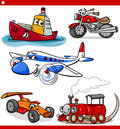 Funny cartoon vehicles and cars set Stock Image