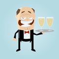 Funny cartoon waiter