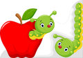 Funny cartoon worm in the apple Royalty Free Stock Photo