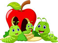 Funny cartoon worm family Royalty Free Stock Photo