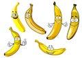 Funny cartoon yellow banana fruits characters isolated on white background Royalty Free Stock Photos