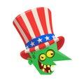 Funny cartoon zombie wearing Uncle Sam hat. Halloween vector illustration