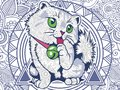 funny cat doodle for adult stress release coloring page