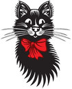 Funny cat with red bow black and white Stock Images