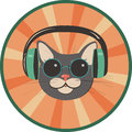 Funny cat in a retro style wearing headphones and sunglasses Stock Photos