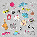 Funny Cats Badges, Patches and Stickers with Fish, Clutches