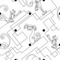Funny Cats. Continuous line drawing. Seamless pattern. Print. White polka dots background. Labyrinth. Vector.