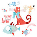 Funny cats and fish with mice Stock Images