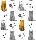 Funny cats handdrawn pattern vector