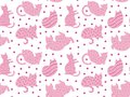 Funny cats pattern pink on white with gold dots vector