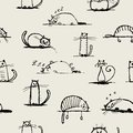 Funny cats sketch, seamless pattern for your Royalty Free Stock Photos