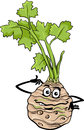 Funny celery vegetable cartoon illustration of comic root food character Royalty Free Stock Photos