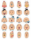 Funny character faces avatars doodle style vector icons set illustration Stock Photo