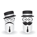 Funny character hipster and gentleman on white background Royalty Free Stock Photos