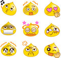 Funny chat emoticons yellow drop Stock Photography