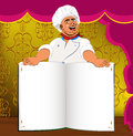 Funny Chef and book menu for Gourmet Royalty Free Stock Images