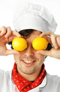 Funny chef an image of a lemon eyed Royalty Free Stock Photography