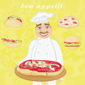 Funny chef serves pizza abstract card with fast food set illustration Royalty Free Stock Image