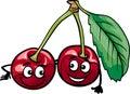 Funny Cherry Fruits Cartoon Il...
