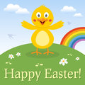 Funny chick happy easter card a greeting with a cute in a meadow with flowers and the rainbow eps file available Stock Photo