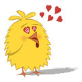 Funny chickens collection cute yellow chick is in love with heart shapes and tongue out Stock Photo