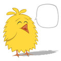 Funny chickens collection cute yellow chick smiles at you with a speech bubble Royalty Free Stock Photos