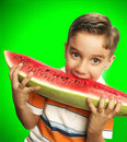 Funny child watermelon. Stock Photography
