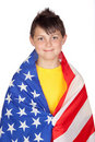 Funny child with yellow t-shirt with American flag Royalty Free Stock Photo