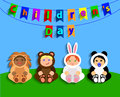 Funny children in animal costumes international children s day vector illustration Stock Photos