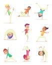 Funny Children practice capoeira movement. Cartoon design character. Vector illustration.
