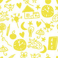 Funny children seamless pattern with cats Stock Images