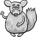 Funny chinchilla cartoon illustration of animal character Stock Photography