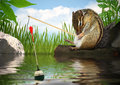 Funny chipmunk fishing angler concept with rod Royalty Free Stock Photos