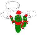A funny christmas cactus with speech bubbles vector art illustration on white background Stock Images