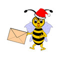 A funny christmas cartoon bee with a letter in its hand vector art illustration on white background Royalty Free Stock Image